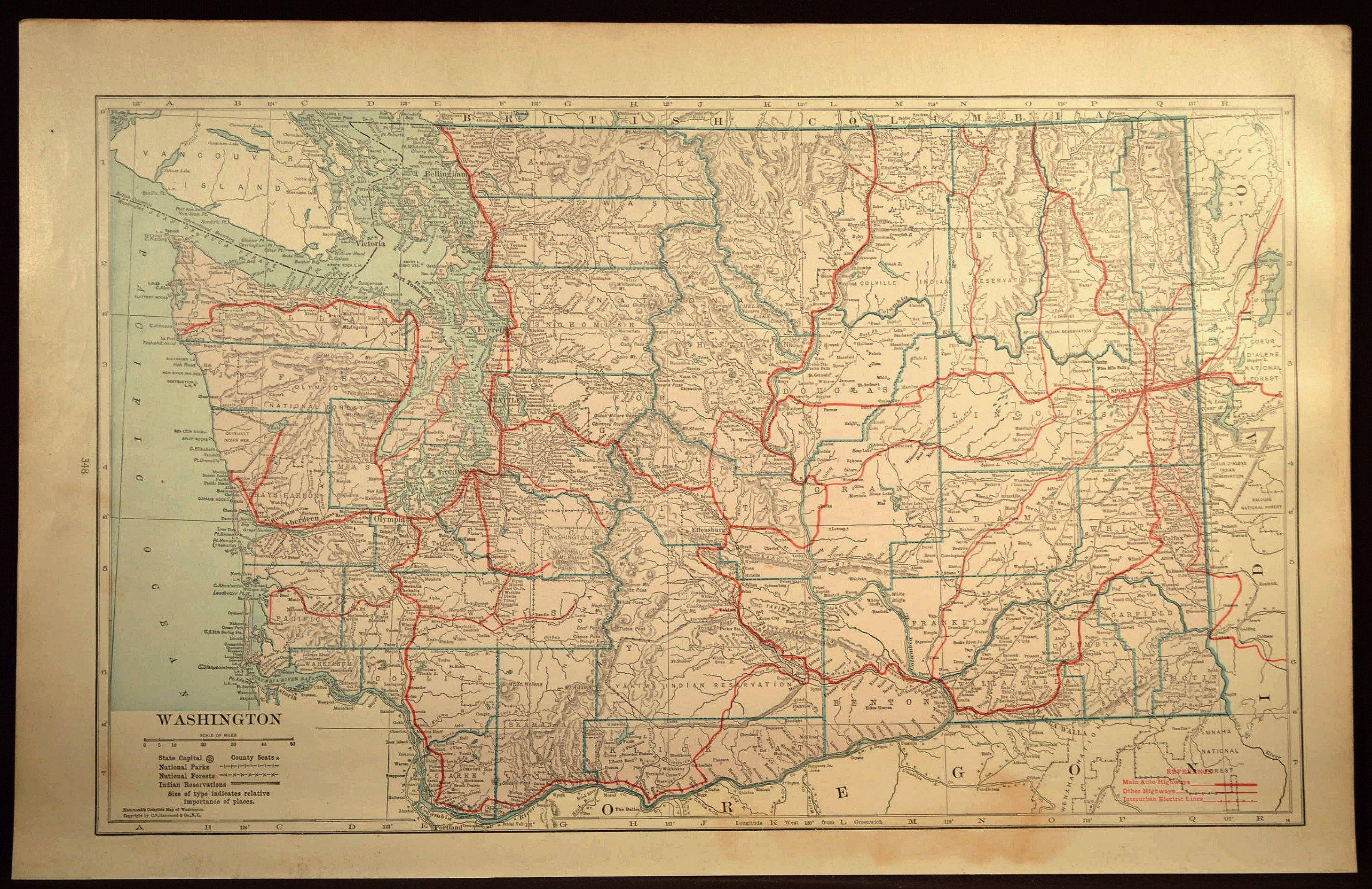 Washington Map Of Washington Road Map Large Wall Art Decor Highway