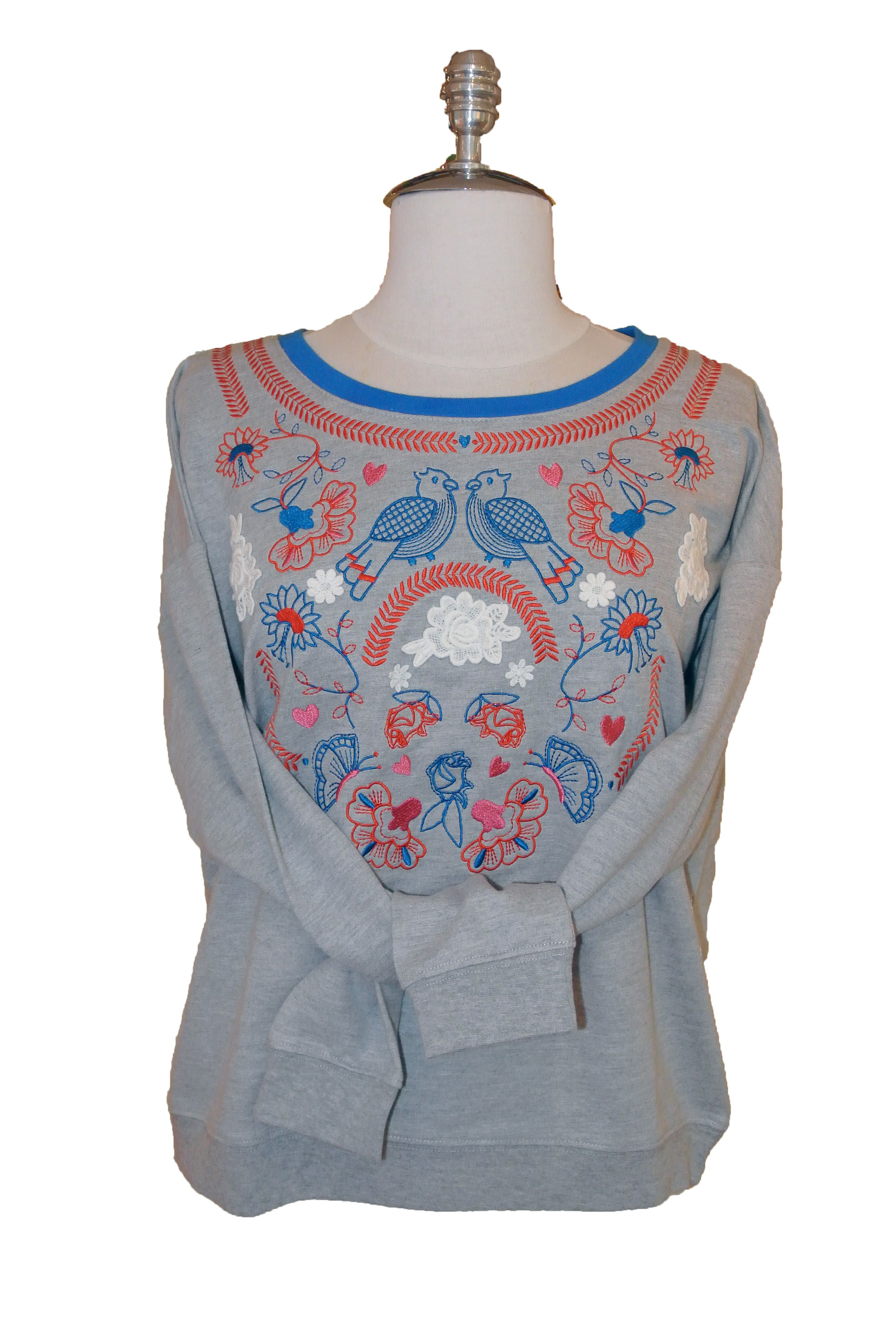 Yumi Sweatshirt with embroidery & lace $88