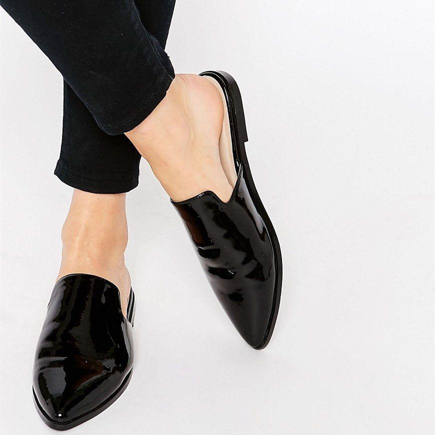 Women's Black Oxfords comfortable Flat