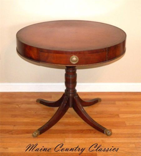 Vintage Duncan Phyfe Style Mahogany Drum Table With Leather Top Mid Century