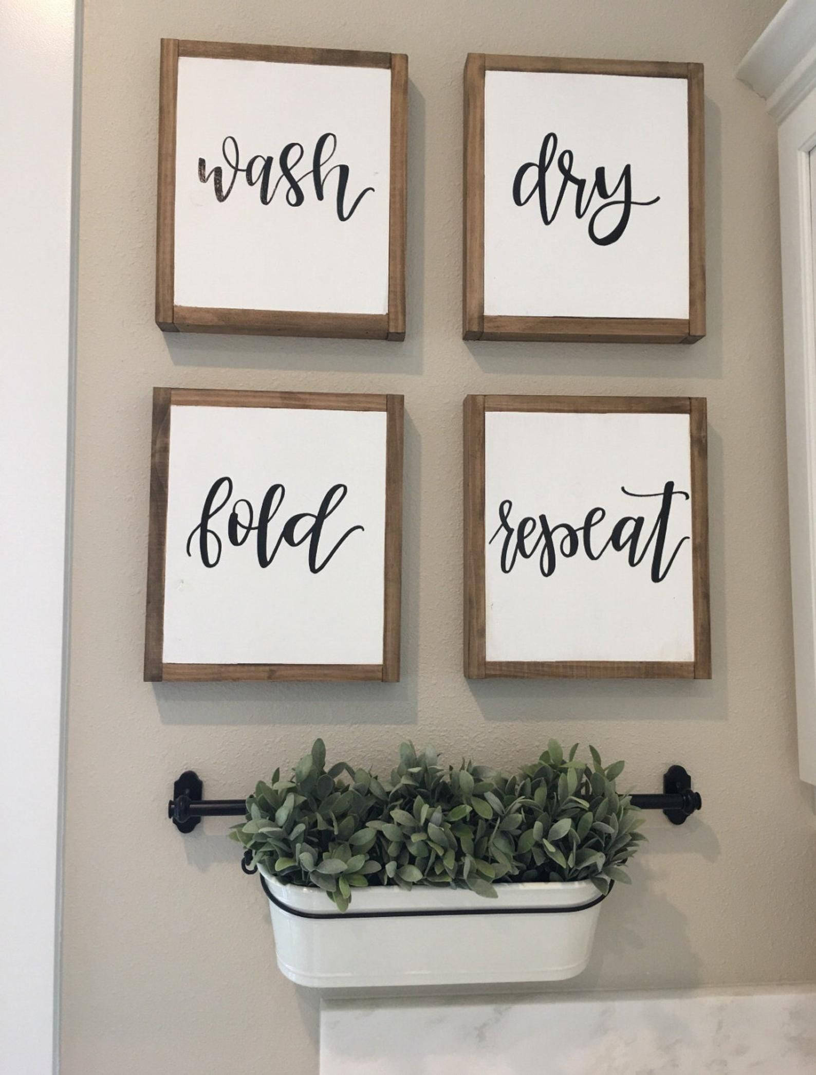 Wash Dry Fold Repeat Signs Laundry Room Sign Rustic Home Etsy