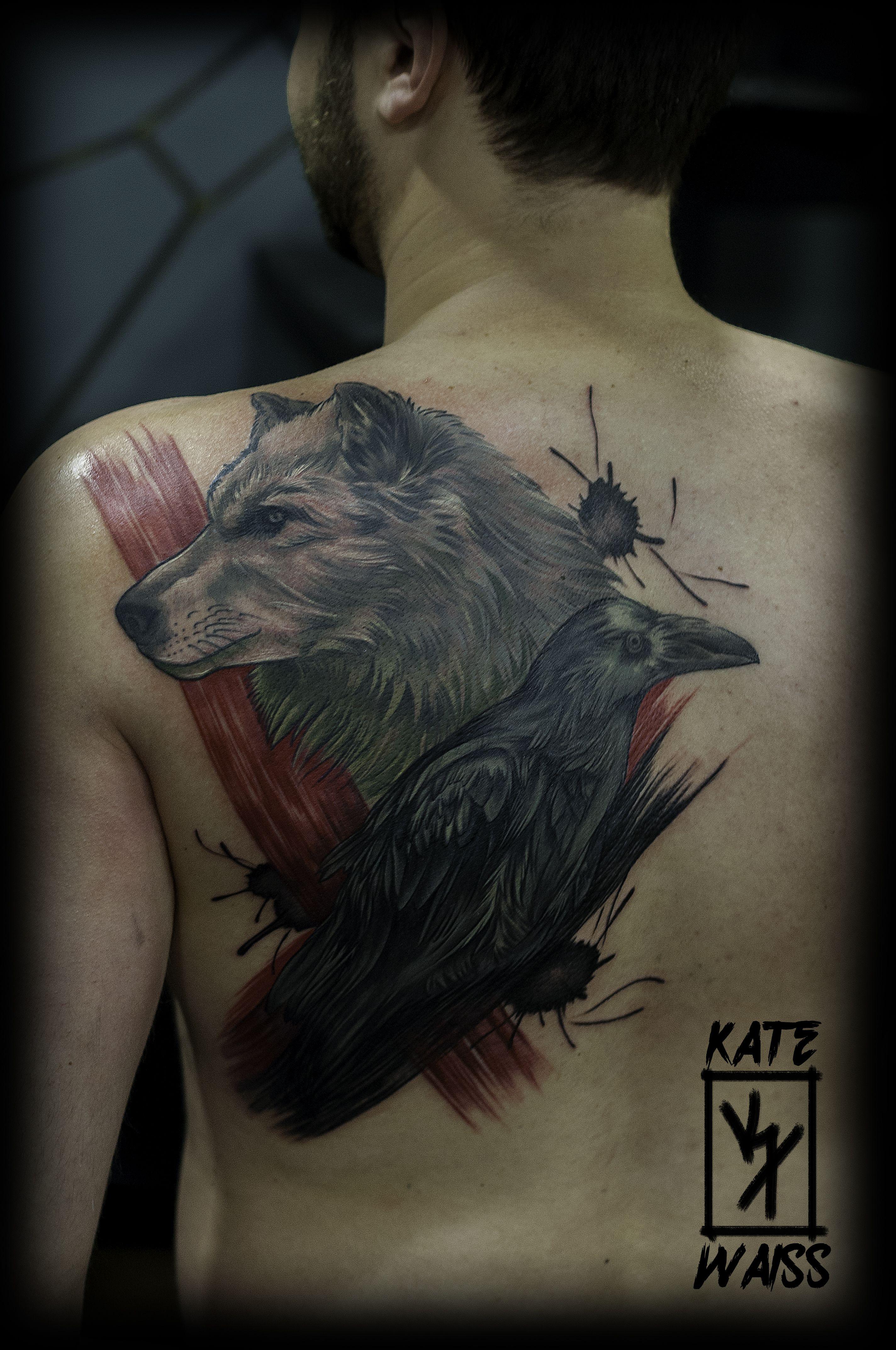 Trash Polka Wolf Vs Crow Ink Tattoos Trash Polka Tattoo Tattoo