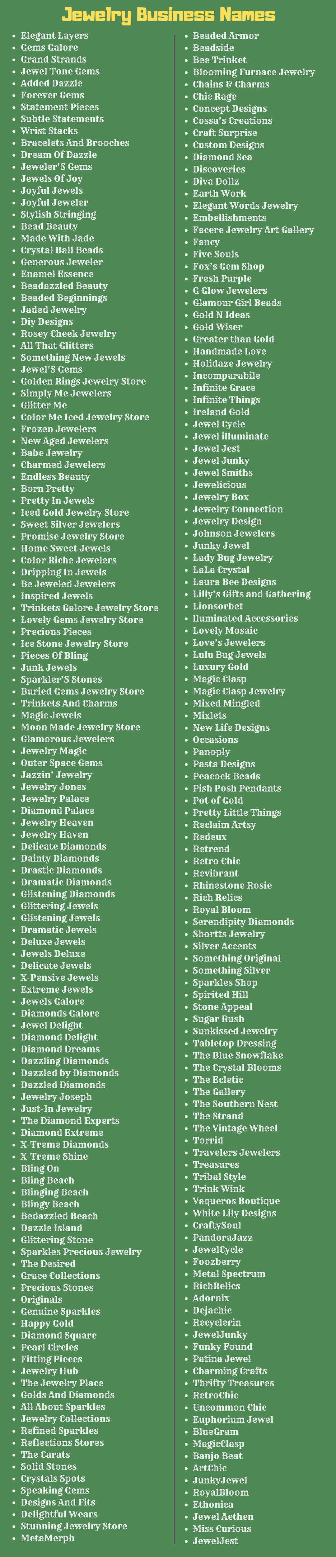 Jewelry Business Names 300+ Good Jewelry Brand Name Ideas