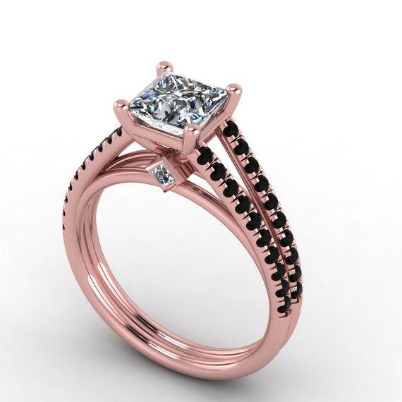 Black Diamonds Are Micro Pave Set On This Beautiful Rose Gold Ring There Are Black Diamond Ring Engagement Rose Gold Engagement Ring Rose Gold Black Diamond