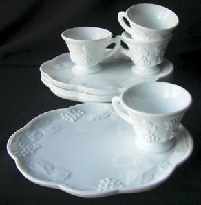 5ef8b8336bd7 vintage white snack plates with cuts | ... VINTAGE WHITE INDIANA MILK GLASS  HARVEST GRAPE SNACK PLATE AND TEA CUP