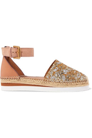 7d9768227 See By Chloé - Glittered Leather Platform Espadrilles - Gold in 2019 ...