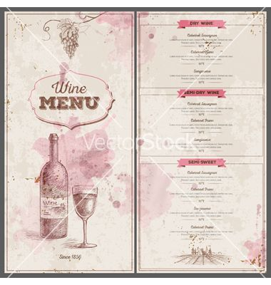 Vintage wine menu design Document template on VectorStock | Wine ...