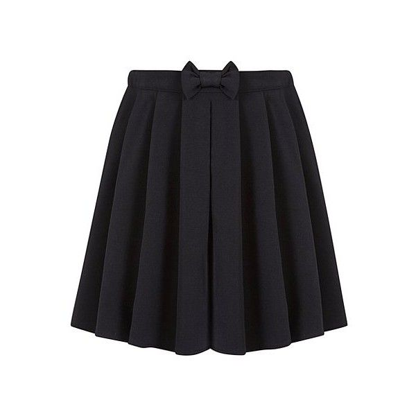 George Girls School Bow Detail Skater Skirt ($6.54) ❤ liked on Polyvore featuring skirts, bow skater skirt, bow skirt, flared skirt, skater skirts and circle skirt