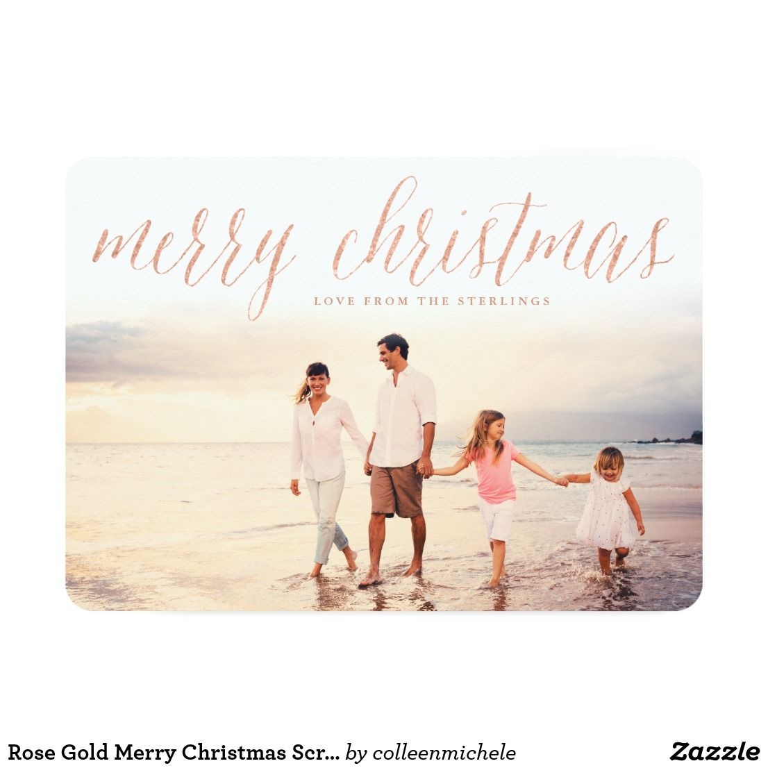 Rose Gold Merry Christmas Script Holiday Card Simple Christmas Cards