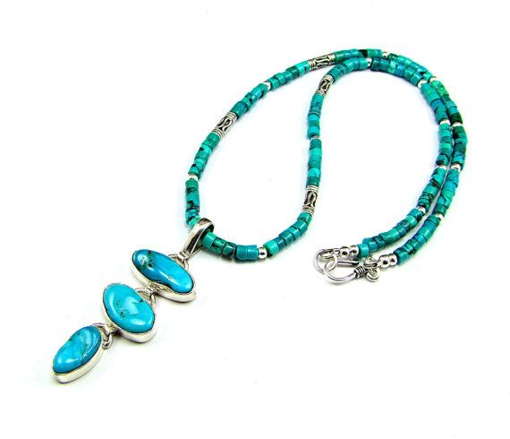 Kingman Turquoise & Sterling Silver Necklace  by TheSilverBear, $185.00