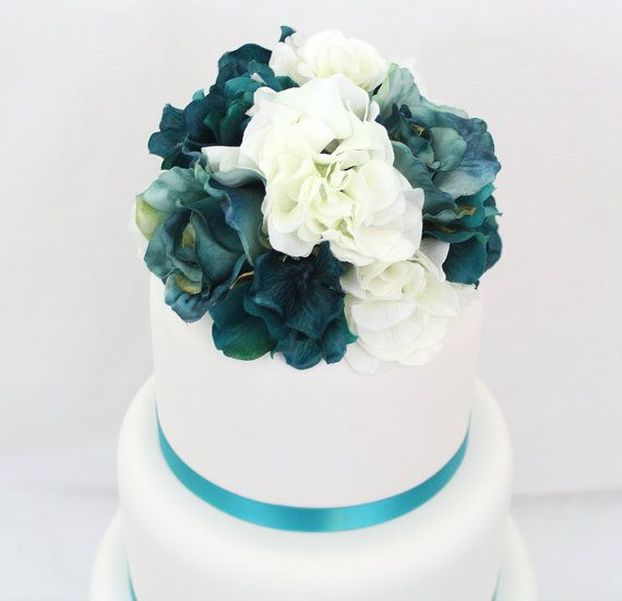 Silk Flower Wedding Cake Toppers: Wedding Cake Topper Turquoise White Hydrangea With Jade