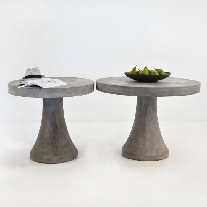 A Fun And Versatile Concrete Table With A Pedestal Base And A Round  Tabletop. Made