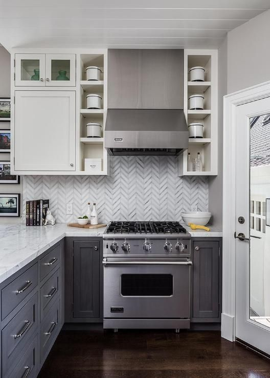 Best White And Gray Kitchen Features White Upper Cabinets And 640 x 480