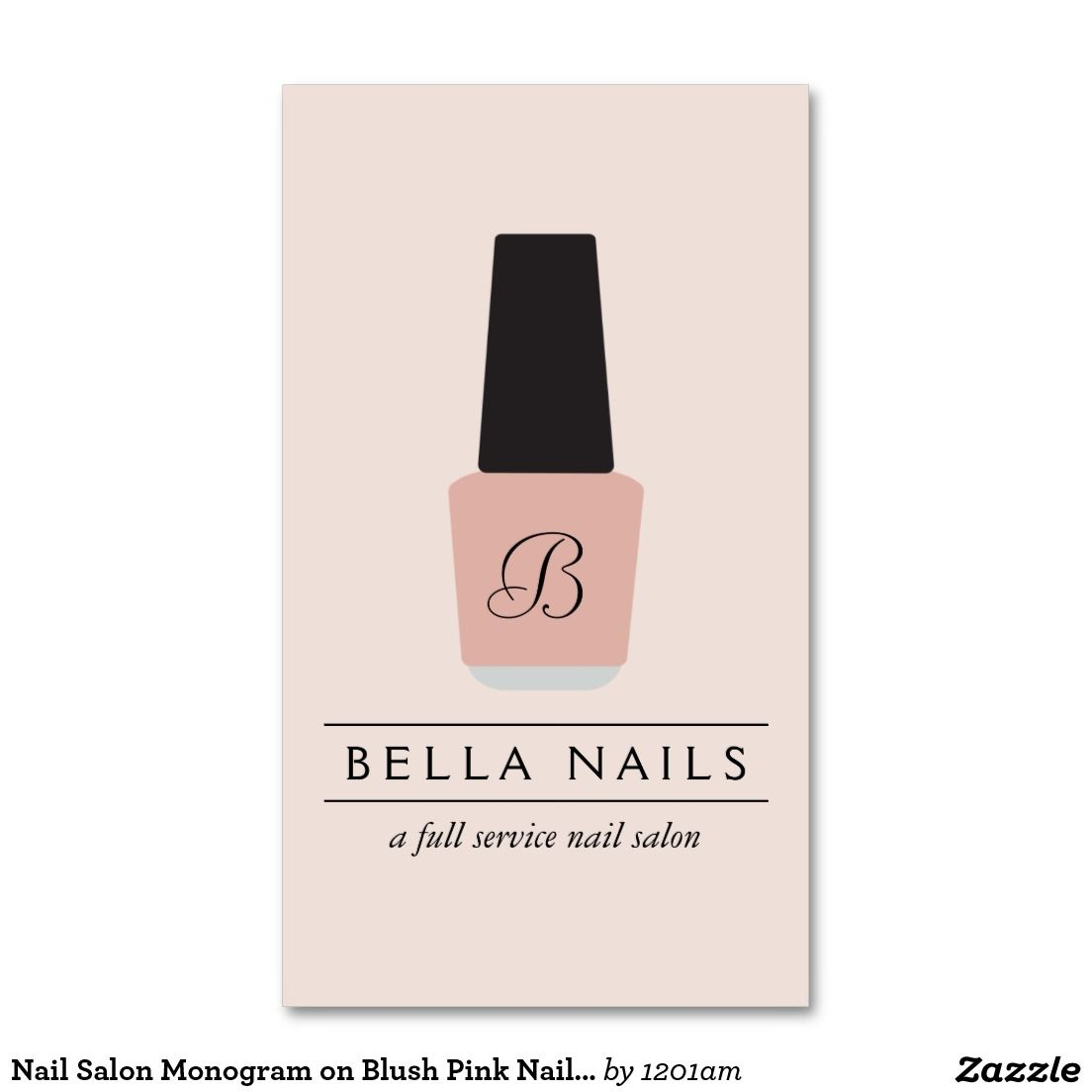 Customizable Nail Salon Business Card Features Monogram Logo with Your Initial - Stylish and Glamorous design ready for you to personalize!
