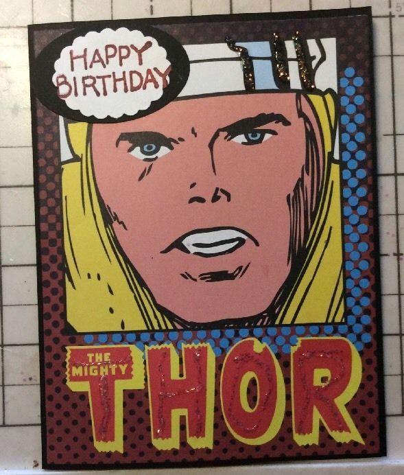 Birthday Card Mighty Thor Marvel Comic Hero Blonde Muscle Man Handmade