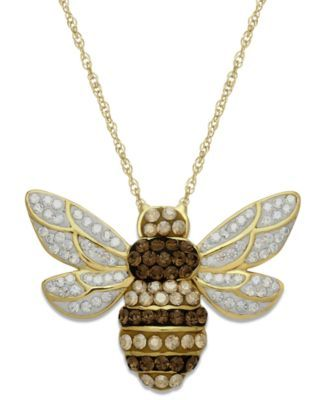 289e898f4 Kaleidoscope 18k Gold over Sterling Silver Necklace, Swarovski Crystal Bumble  Bee Pendant