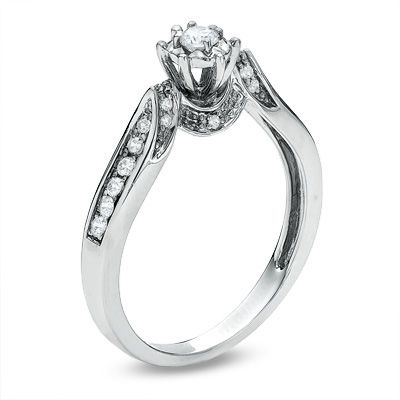 1 5 Ct T W Diamond Channel Set Promise Ring In 10k White