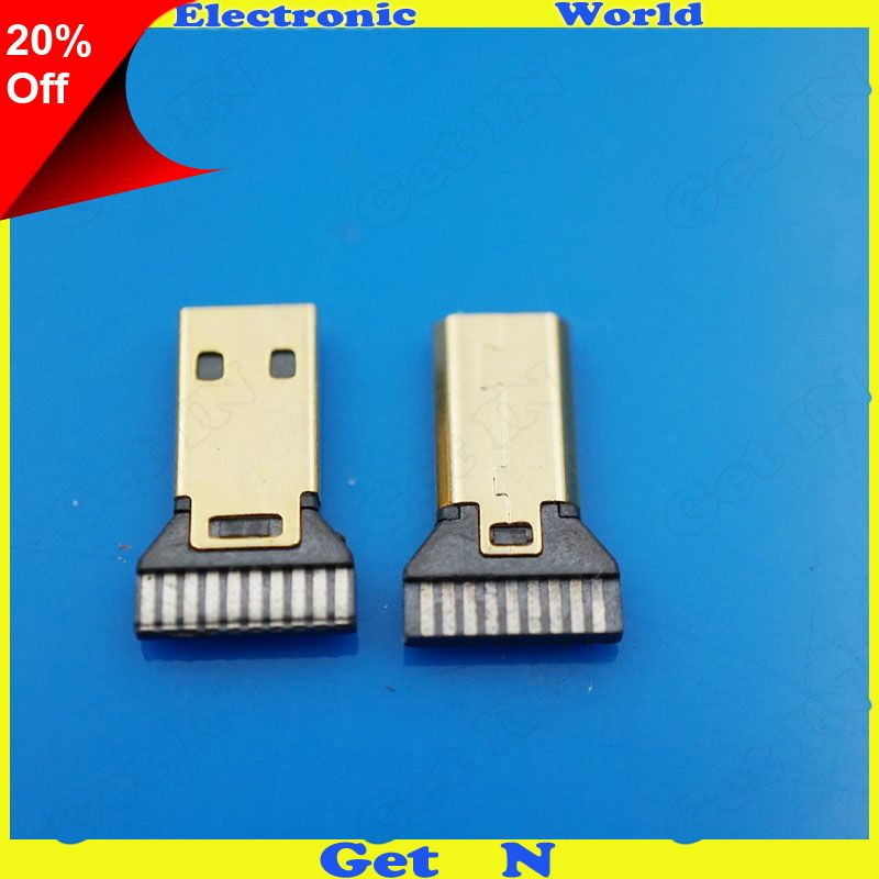 Only 8 30 Gold Plating Micro Hdmi Male Plug Jack Connector With Pcb Plug