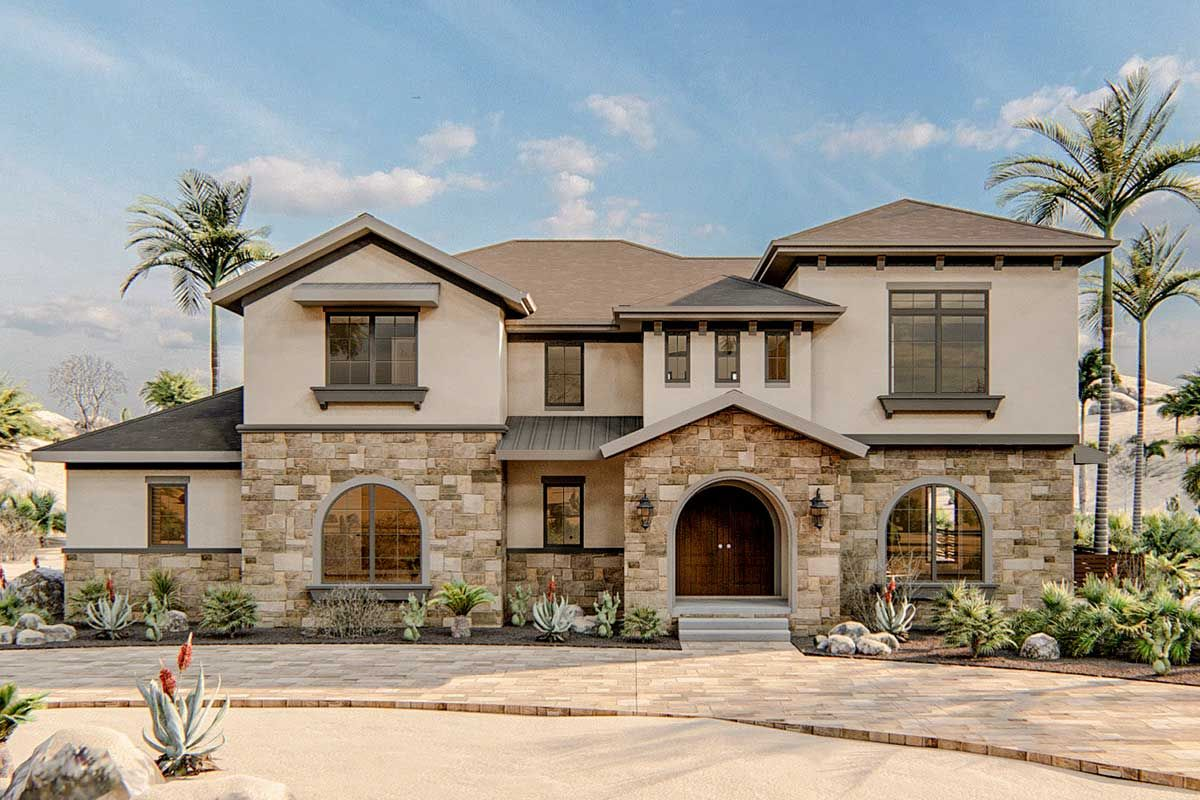 4-Bed Mediterranean-style House Plan with Upstairs