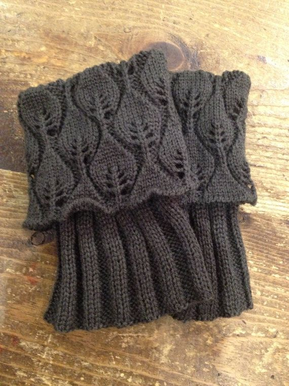 Knitted boot cuff / boot toppers lace leaf pattern in by carm1224 on ...