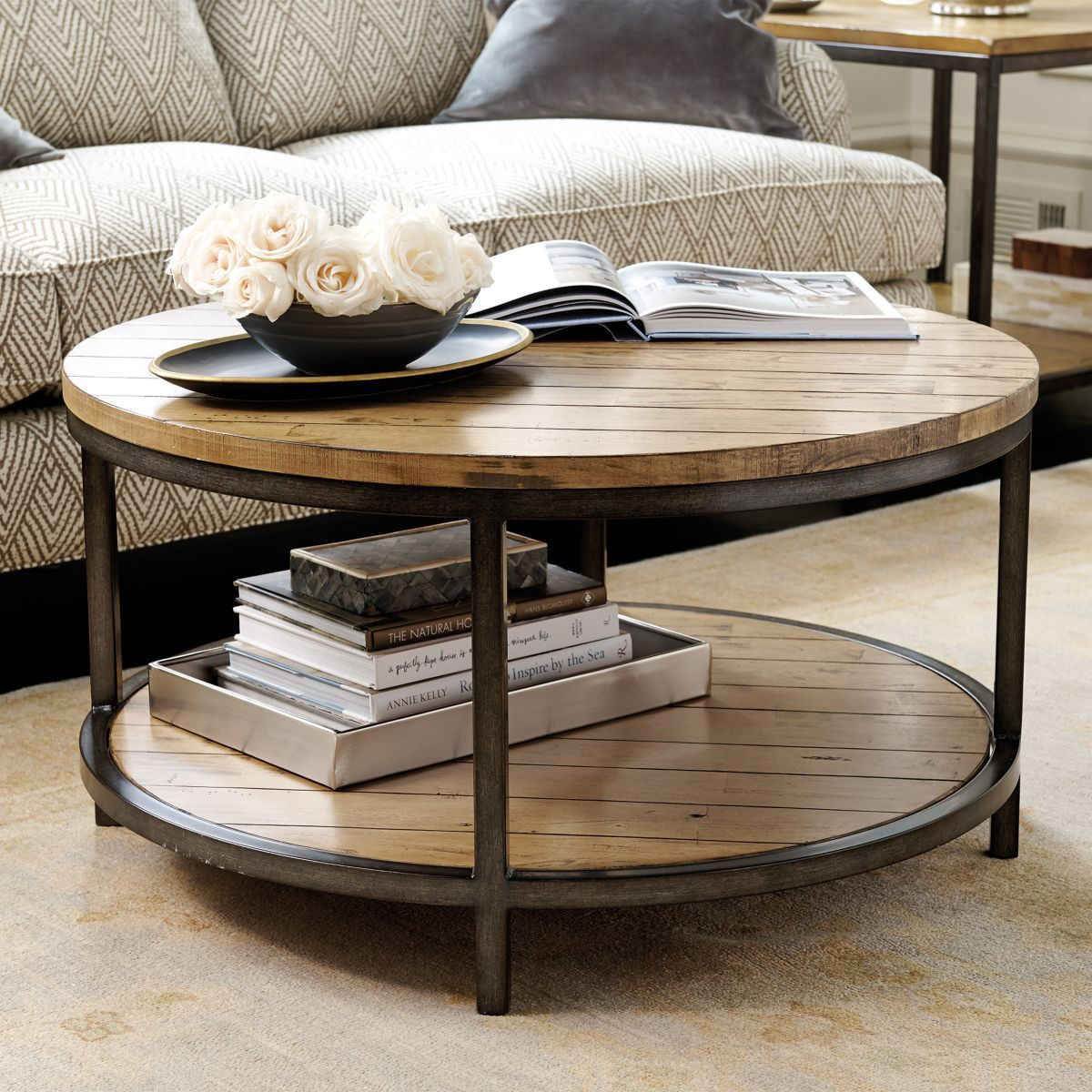 Durham Round Coffee Table Ballard Designs Salontafel Tafel Woonkamer Ronde Salontafel [ 1200 x 1200 Pixel ]