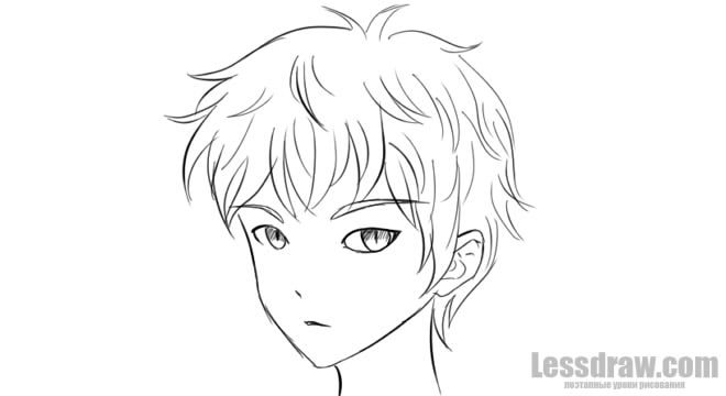How To Draw Anime Boy Step By Step For Beginners Lessdraw Anime Drawings Boy Drawing Guy Drawing