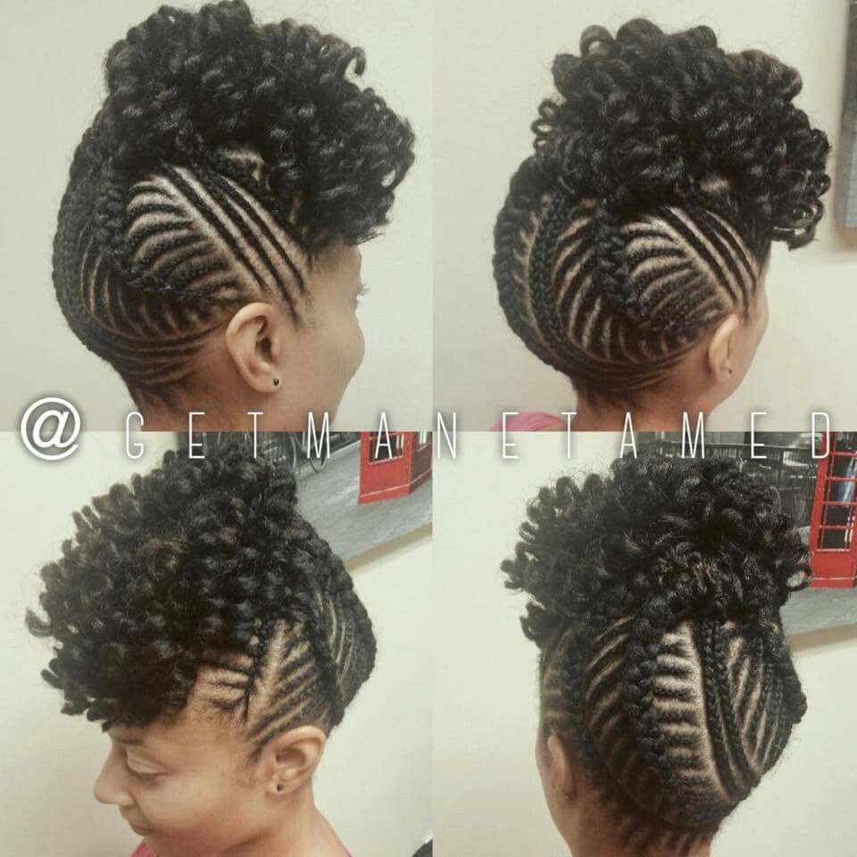 Protective Styles Updo With Bangs Getmanetamed On Ig Cornrow Updo Hairstyles Natural Hair Updo Natural Hair Styles