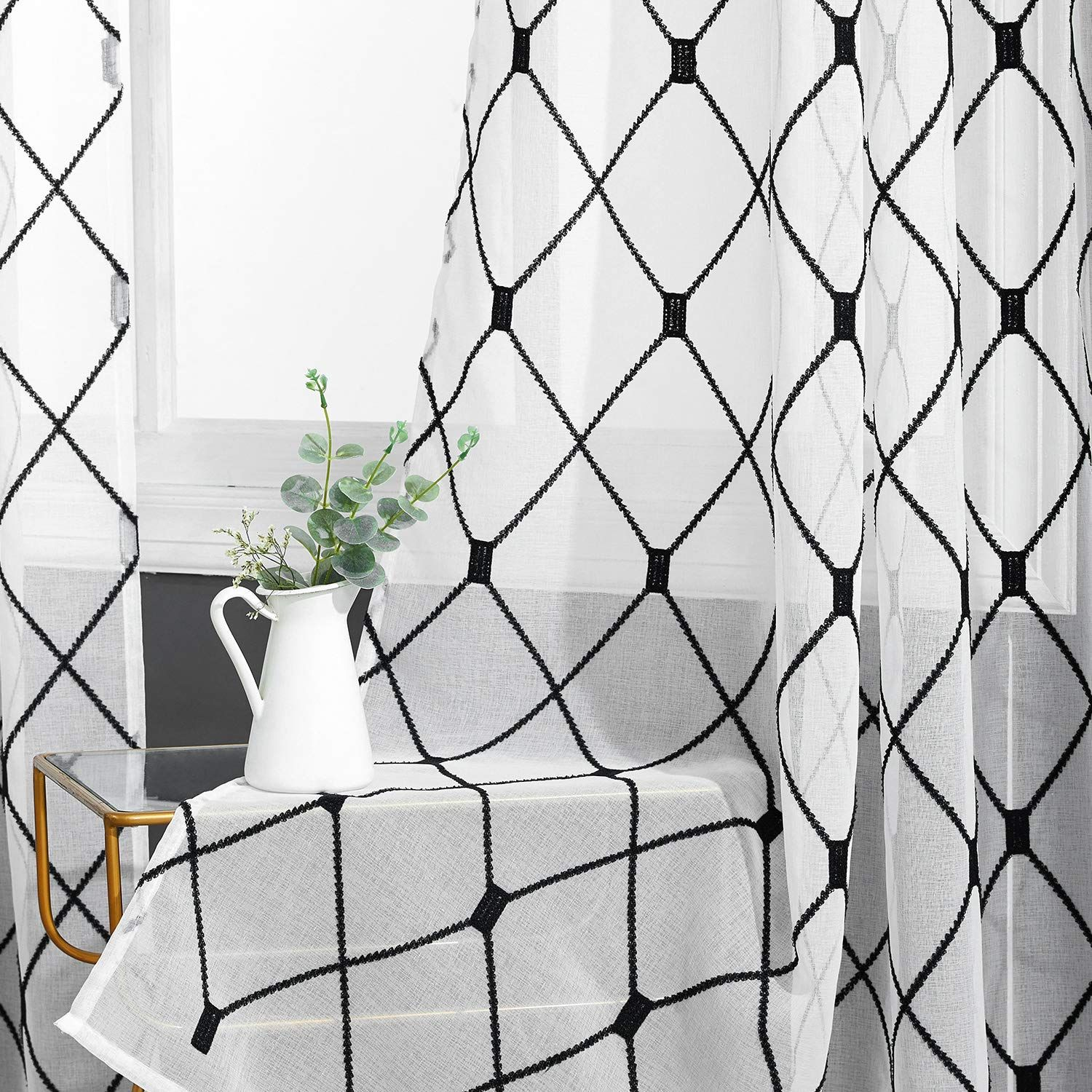 Top Finel White Sheer Curtains 96 Inches Long Black Embroidered Diamond Grommet Window Cur White Sheer Curtains Navy And White Curtains Blue And White Curtains