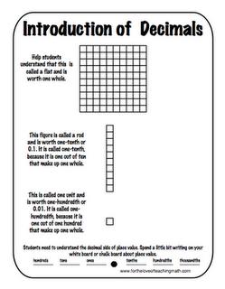 using base 10 blocks to introduce decimals math and school. Black Bedroom Furniture Sets. Home Design Ideas