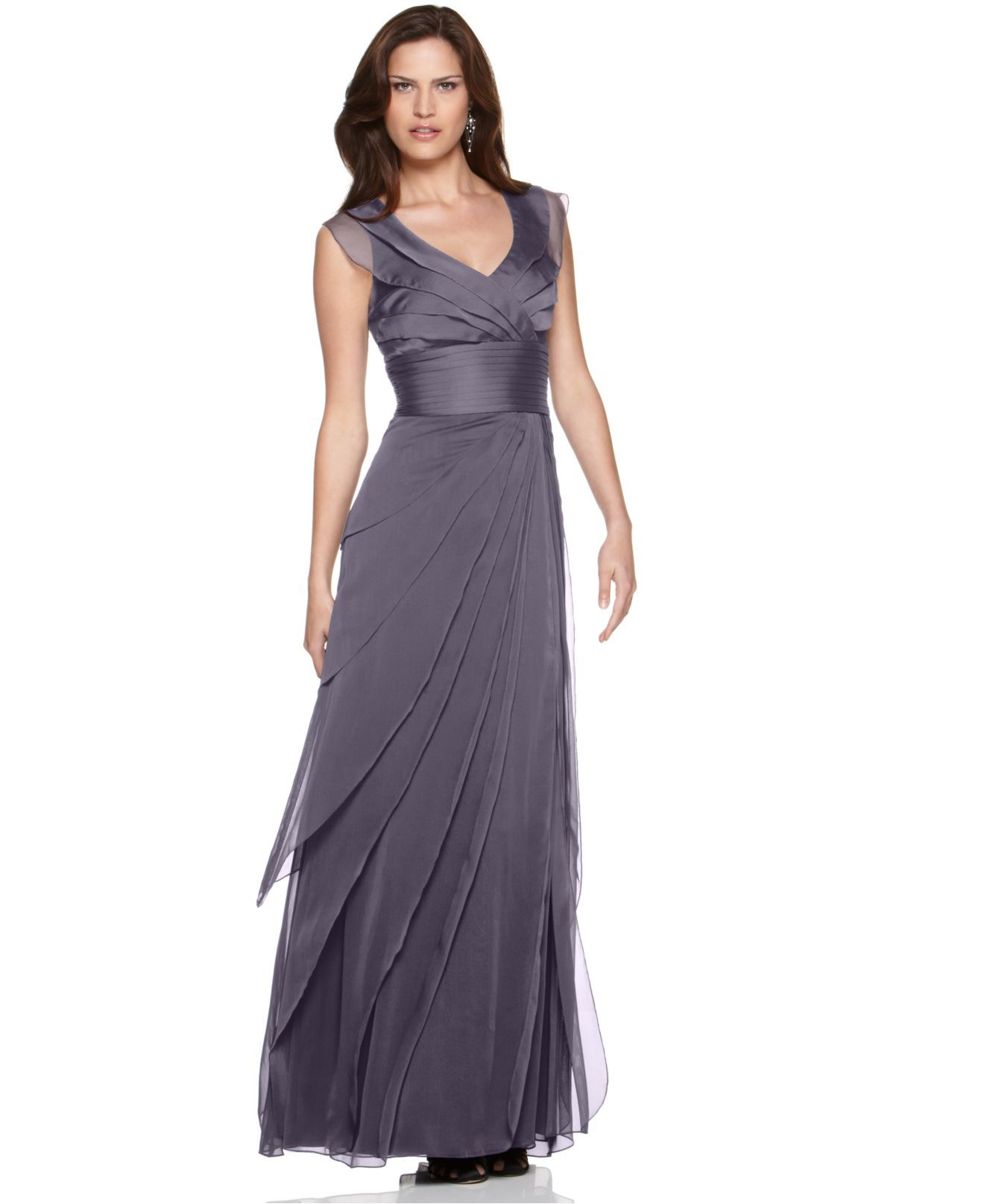 Adrianna papell dress tiered evening dress womens for Wedding dresses for womens