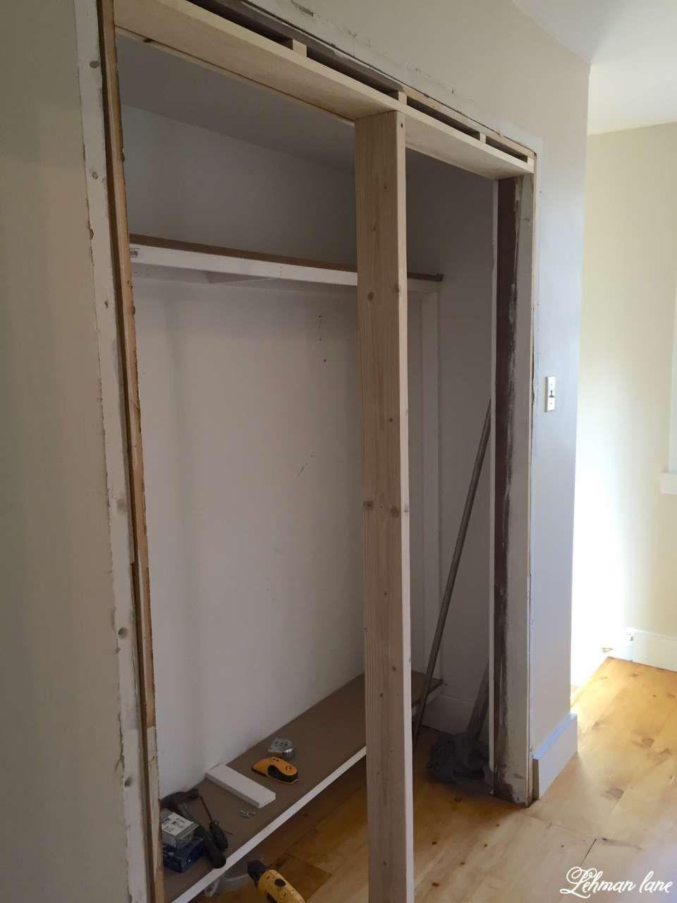 Diy closet door makeover bifold to hinged closet