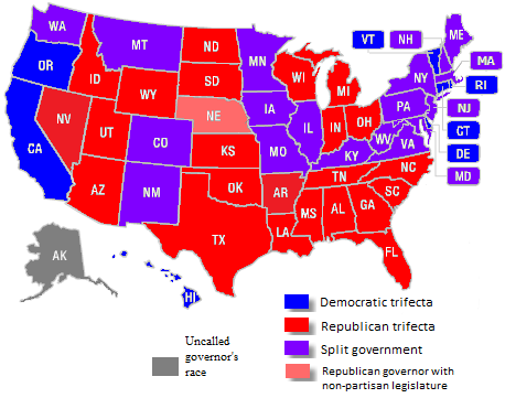 US state governments under one party control after the 2014