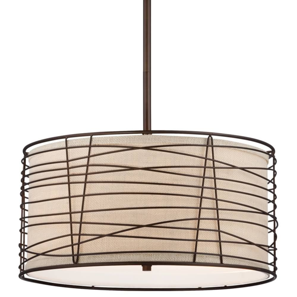Munroe wire wrapped burlap 18 14 wide bronze pendant light style munroe wire wrapped burlap 18 14 wide bronze pendant light style greentooth Image collections