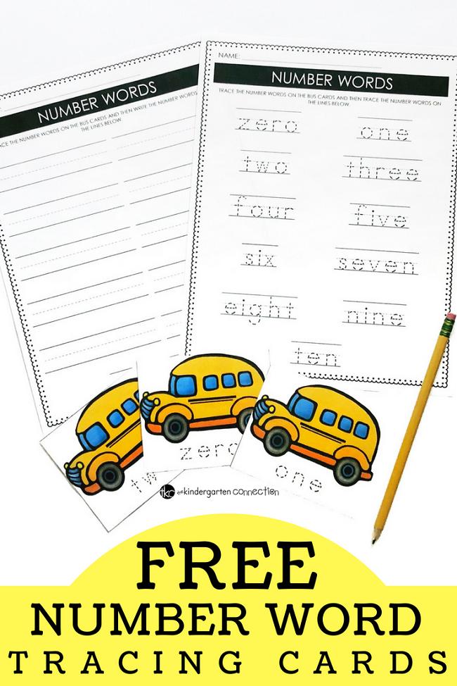 School Bus Tracing Number Words Printable - FREE Kinder ...