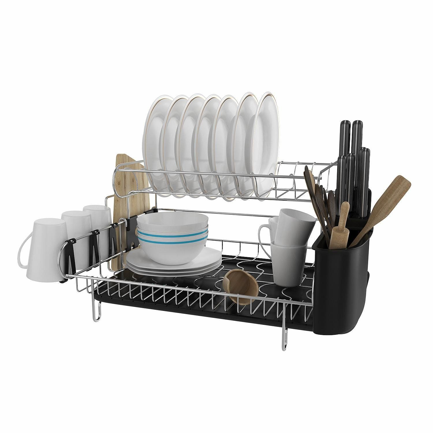 304 Stainless Steel Professional 2 Tier Dish Drying Drainer Rack Large Capacity With Microfiber Dish Racks Drying Rack Kitchen Kitchen Utensil Holder