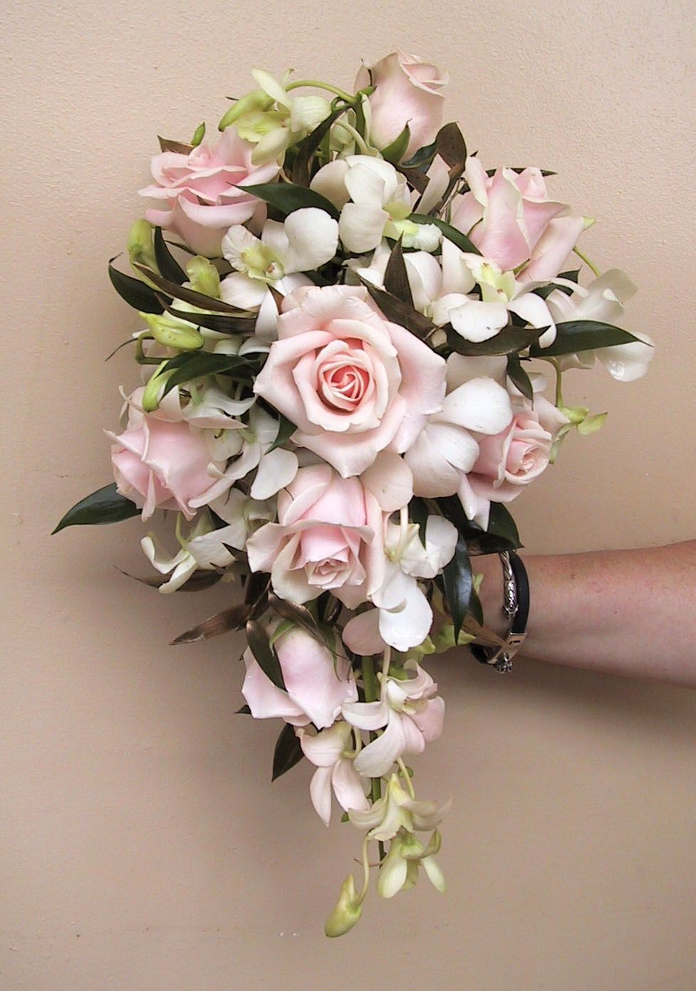 Cascade Wedding Bouquet With Pale Pink Roses And White Dendrobium Orchids Floral Kuhlmanns Flower Bouquet Wedding Wedding Bouquets Cascading Wedding Bouquets