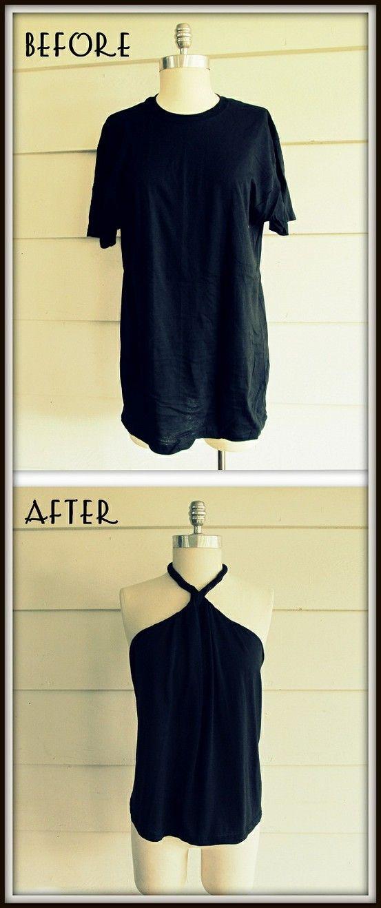 Recicla una franela color negro y conviértela en un hermoso top