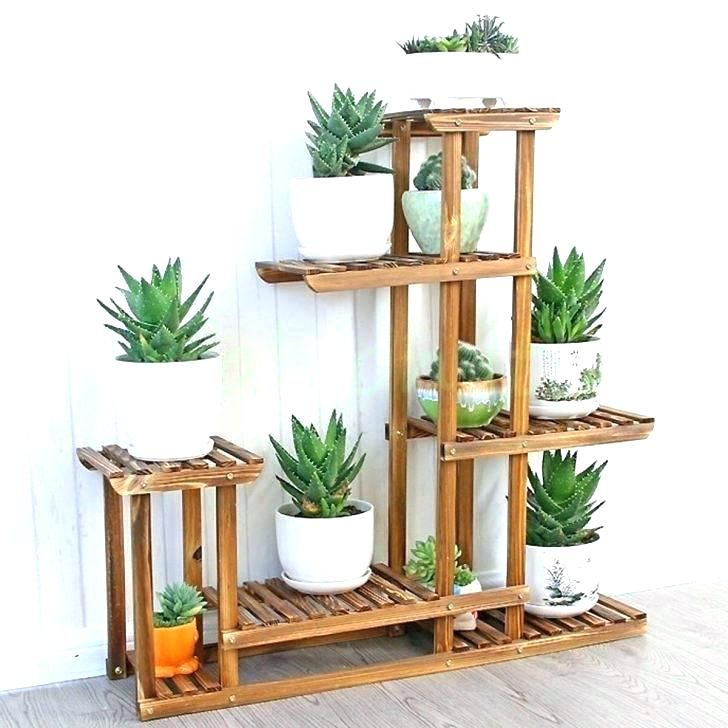 Planter Stand Wood Stands Tall Wooden Plant Outdoor Small Outside