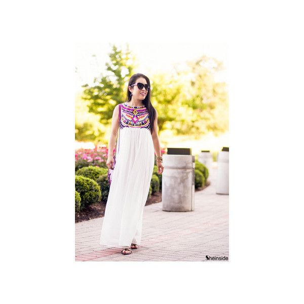 White Sleeveless Embroidery Pleated Chiffon Dress ($26) ❤ liked on Polyvore