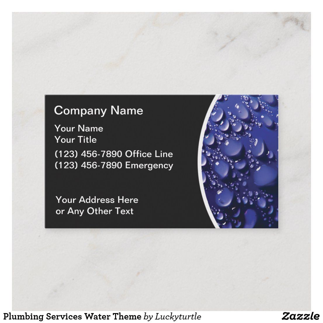 Plumbing Services Water Theme Business Card Business Cards Layout Plumbers Gift Business Card Size