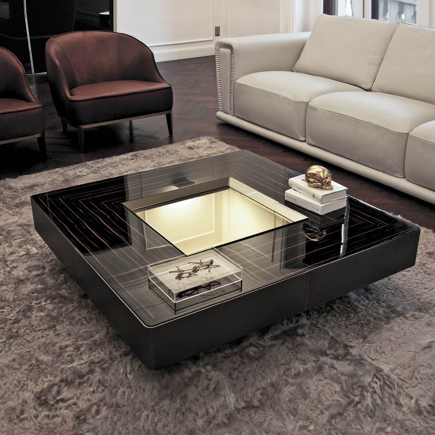 table basse cuir | Center table living room, Centre table living room, Centre table design