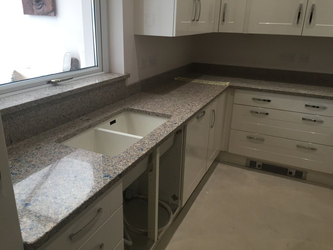 Installation Of Azul Ugarit Blue Sahara Silestone Quartz