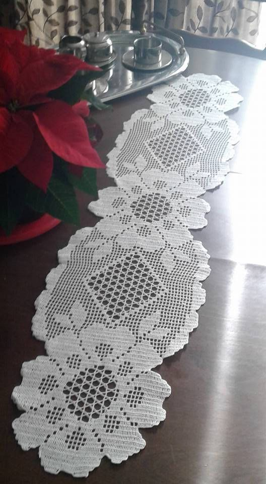Hand made crochet table runner. by CrochetEmbroideyArt on Etsy