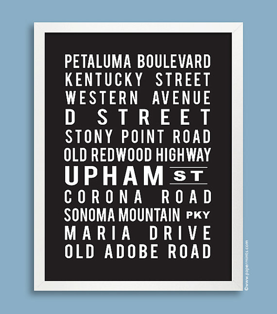 Custom Subway 11x14 Art Print Street Names Favorite Cities And Places In Black Or Color