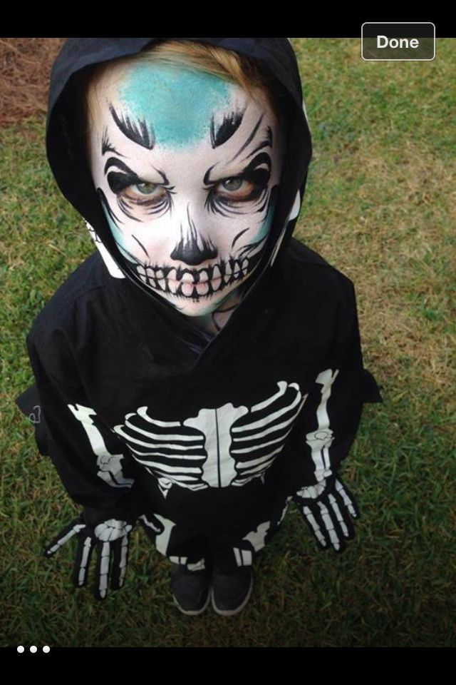 Skeleton face paint and costume