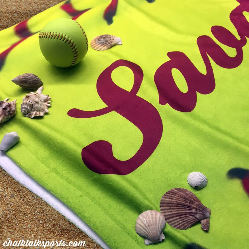 Prep for many beach days this summer with our personalized softball stitch towel! This would make a great softball gift for your favorite softball player! Only from ChalkTalkSPORTS.com!