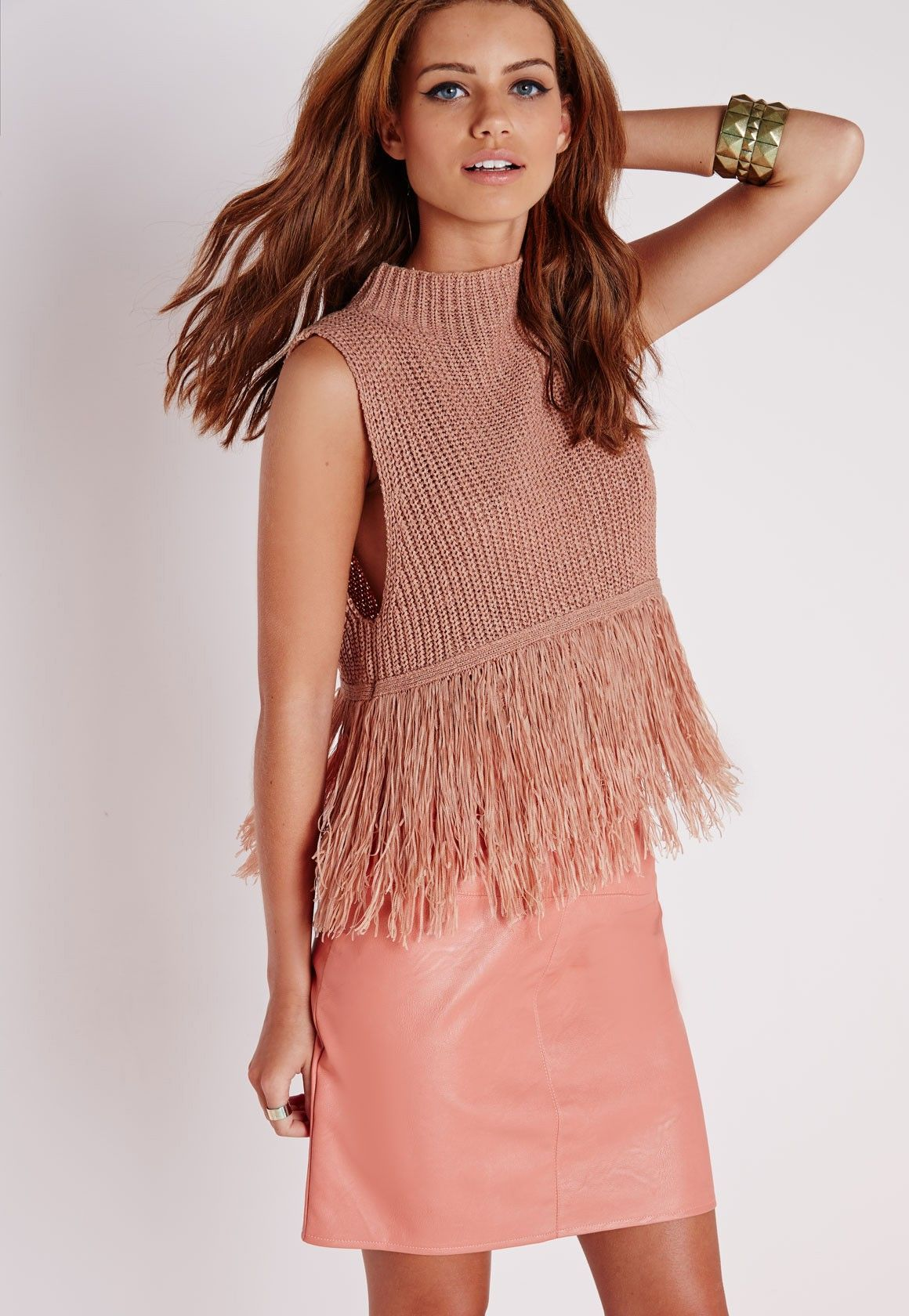 7585cbfbb2c3b Missguided - Double Fringe Hem Crop Knitted Vest Nude