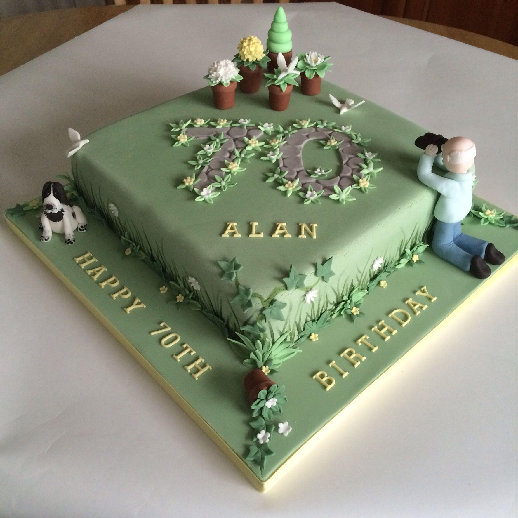 Bird Watching And Gardening Theme Cake 70th Birthday