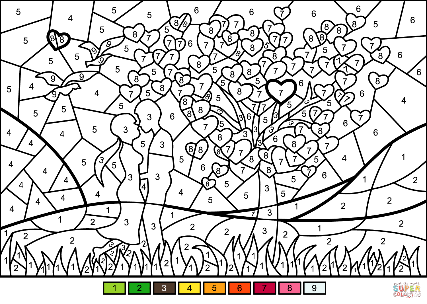 Couple In Love Color By Number Free Printable Coloring Pages Printable Coloring Pages Coloring Pages Color By Number Printable
