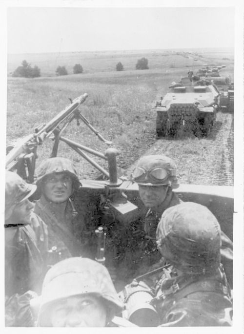Several SdKfz 251/1 Ausf C halftracks operating on the Eastern Front.